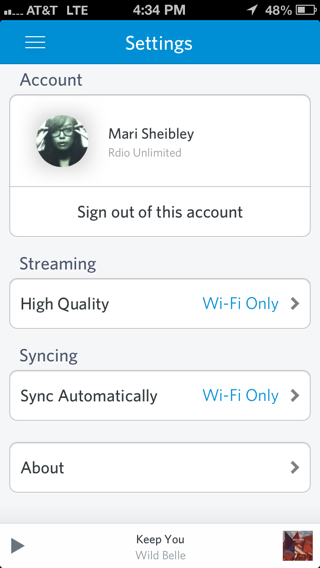 Rdio iPhone settings screenshot