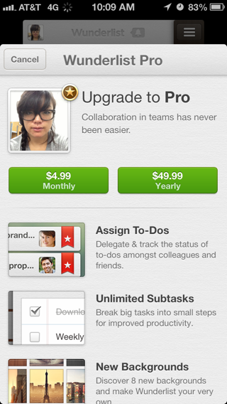 Wunderlist iPhone in app purchases screenshot