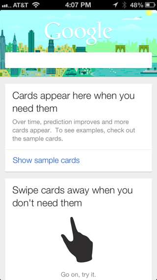 Google Now iPhone coach marks screenshot