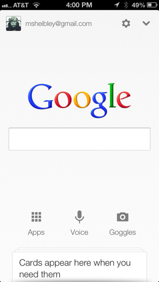 Google Now iPhone search, home screenshot