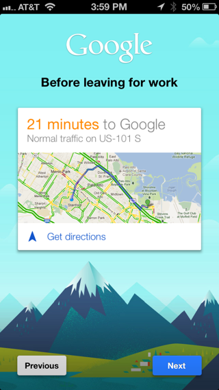 Google Now iPhone walkthroughs screenshot