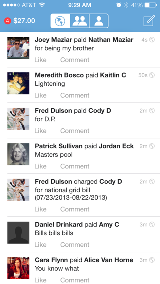 venmo iPhone feeds, lists screenshot