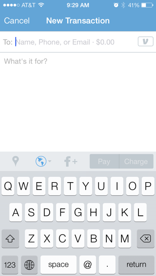 venmo iPhone compose screens screenshot