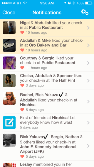 Foursquare iPhone lists, notifications screenshot