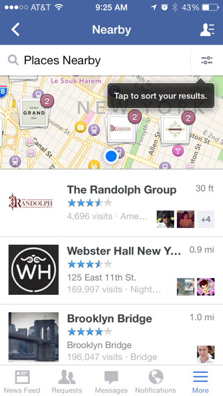 Facebook iPhone maps, lists, popovers screenshot