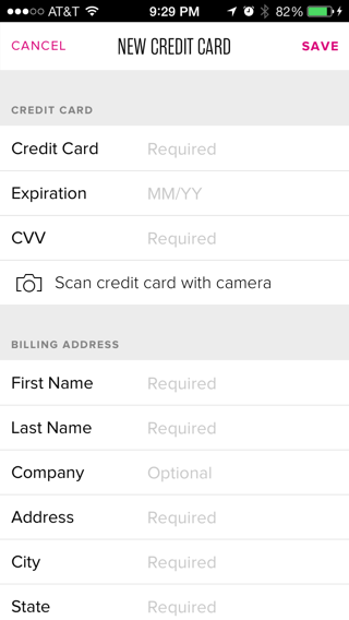 Rent The Runway iPhone forms screenshot