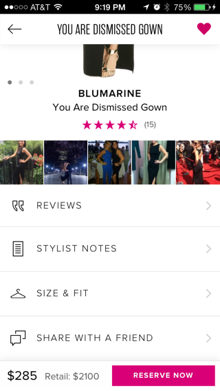 Rent The Runway iPhone detail views screenshot