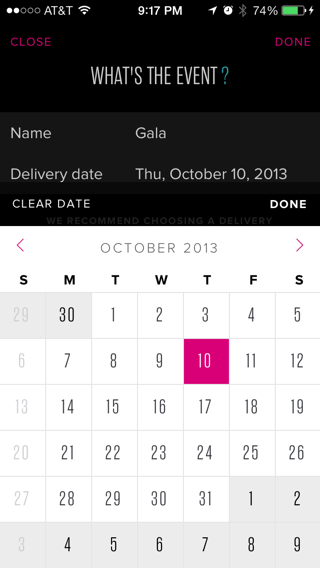 Rent The Runway iPhone calendar screenshot