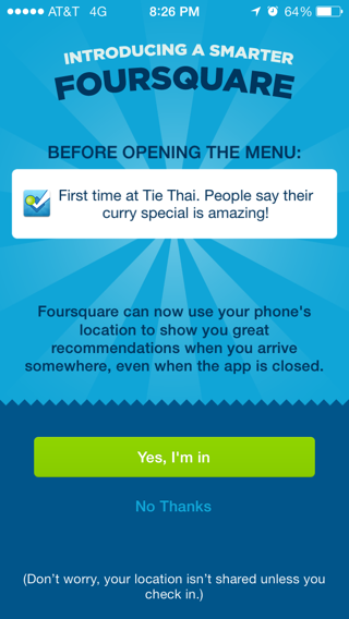 Foursquare iPhone  screenshot
