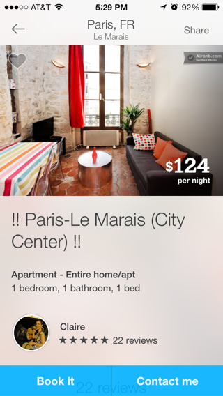 Airbnb iPhone detail views screenshot