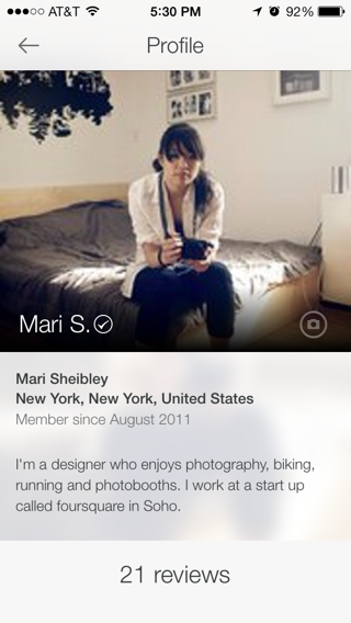 Airbnb iPhone user profiles screenshot