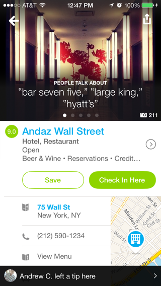 Foursquare iPhone detail views screenshot