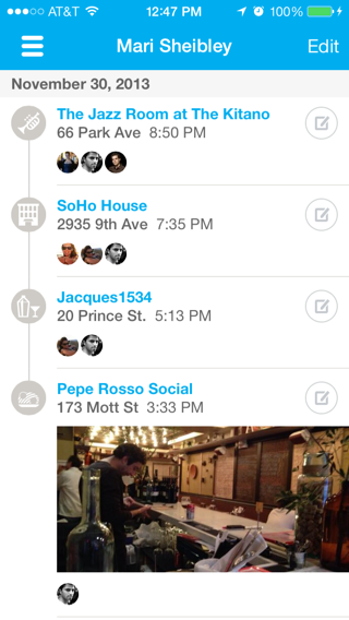 Foursquare iPhone lists, timelines screenshot