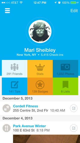 Foursquare iPhone user profiles screenshot
