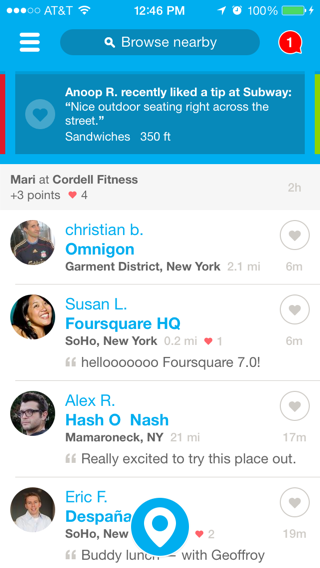 Foursquare iPhone feeds, home screenshot