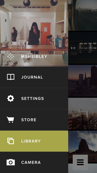 VSCO iPhone custom navigation, flyout menu screenshot