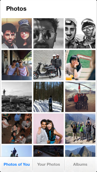 Facebook Paper iPhone grid, photo gallery screenshot