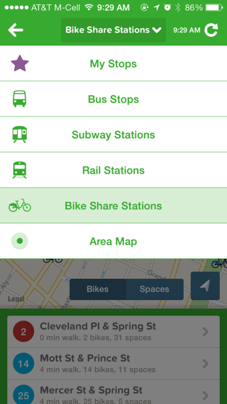 Citymapper iPhone dropdowns screenshot