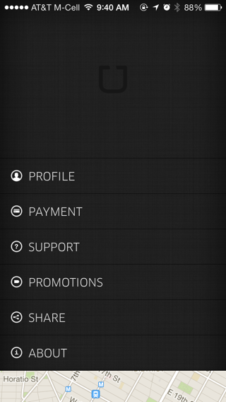 Uber iPhone user profiles screenshot