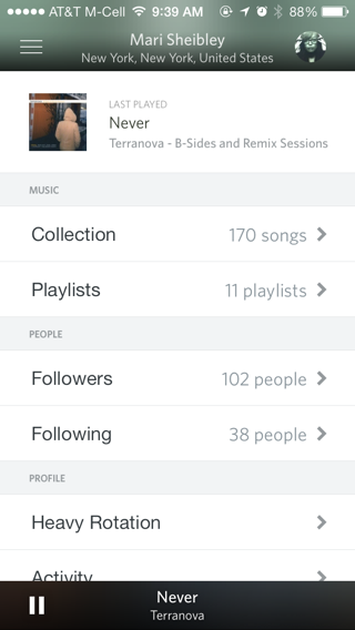 Rdio iPhone user profiles, lists screenshot