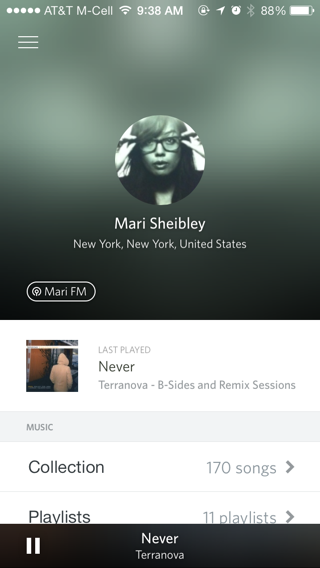 Rdio iPhone user profiles screenshot