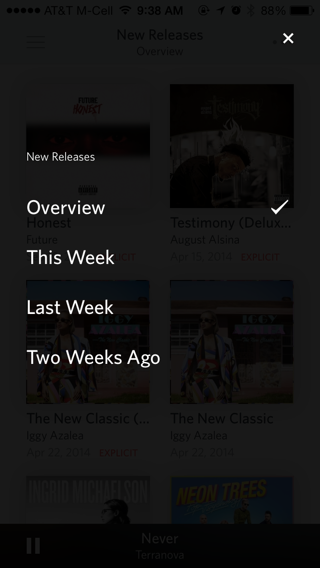 Rdio iPhone popovers screenshot