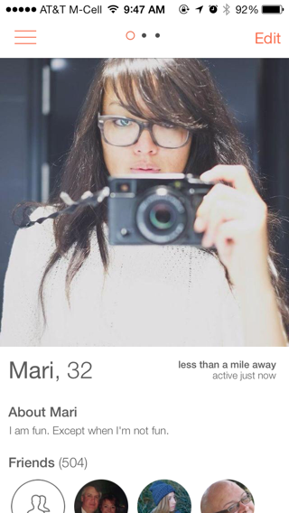 Tinder iPhone user profiles, edit screenshot