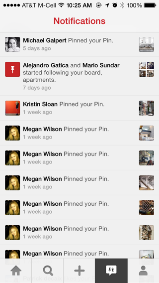 Pinterest iPhone notifications screenshot