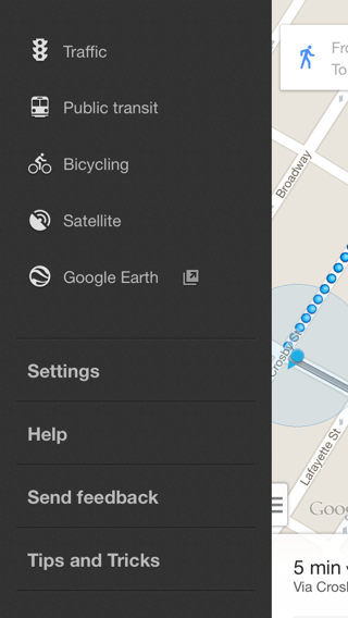 Googlemaps iPhone custom navigation screenshot