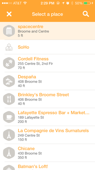 Swarm iPhone lists screenshot