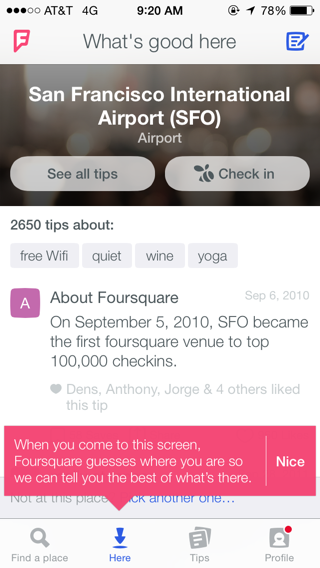 Foursquare iPhone popovers, detail views screenshot