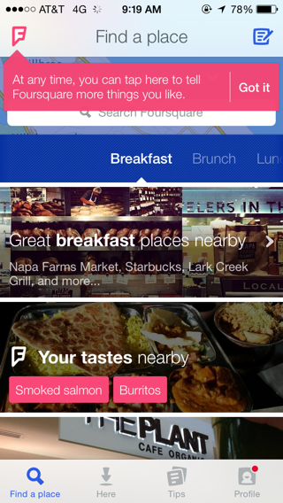 Foursquare iPhone home, popovers screenshot