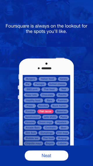 Foursquare iPhone onboarding screenshot
