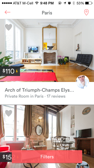 Airbnb iPhone lists screenshot