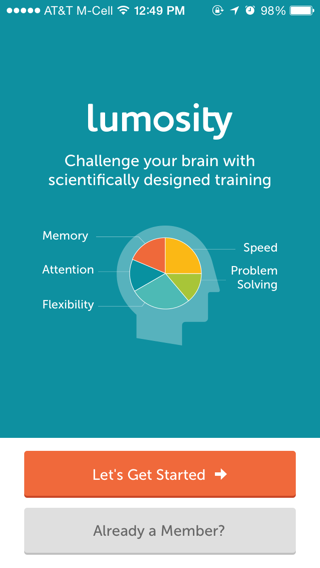 Lumosity iPhone sign up flows, onboarding screenshot
