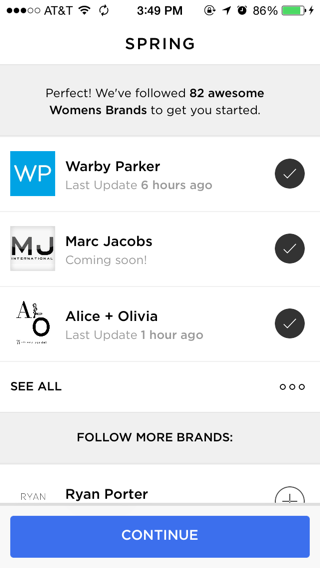 Spring iPhone onboarding screenshot