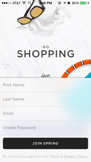Spring iPhone sign up flows, onboarding screenshot