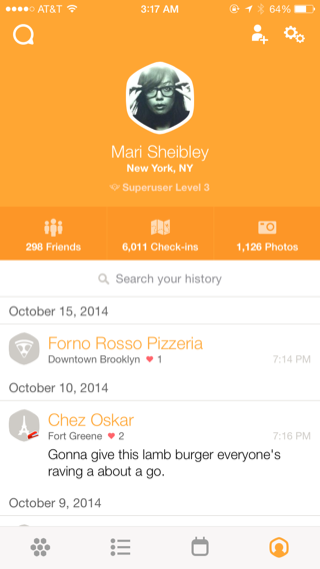 Swarm iPhone user profiles screenshot