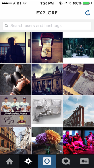 Instagram iPhone grid, photo gallery, explore screenshot