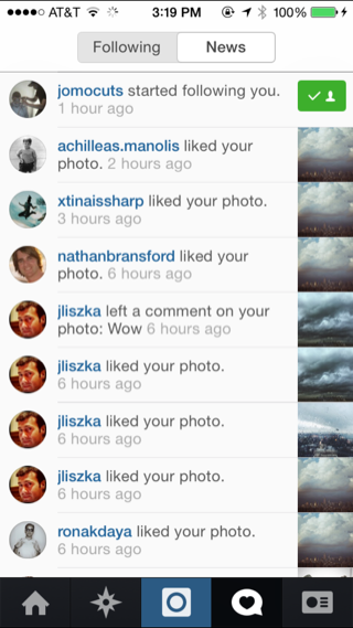Instagram iPhone notifications screenshot