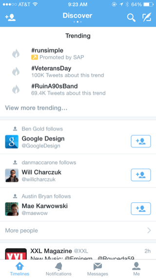Twitter iPhone feeds, discover, trending screenshot