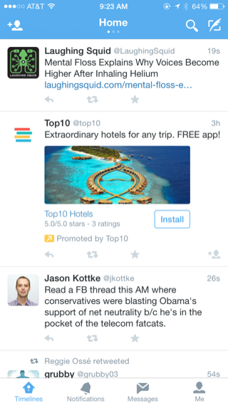 Twitter iPhone home, feeds screenshot