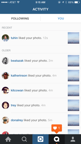 Instagram iPhone notifications, activity screenshot
