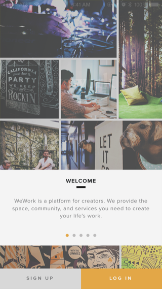 WeWork iPhone onboarding screenshot