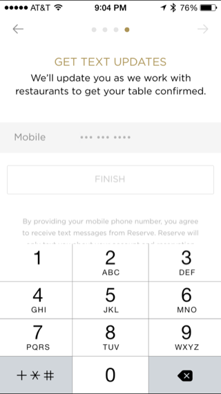 Reserve iPhone onboarding, booking screenshot
