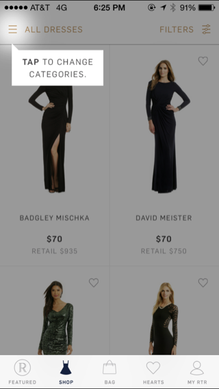 Rent The Runway iPhone popovers screenshot