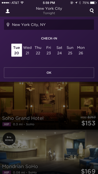 Hotel Tonight iPhone search, booking screenshot