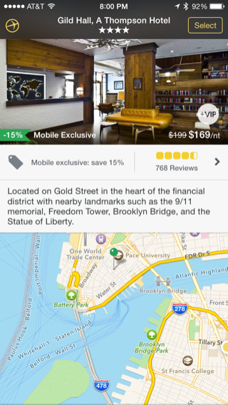 Expedia iPhone detail views, booking, maps screenshot