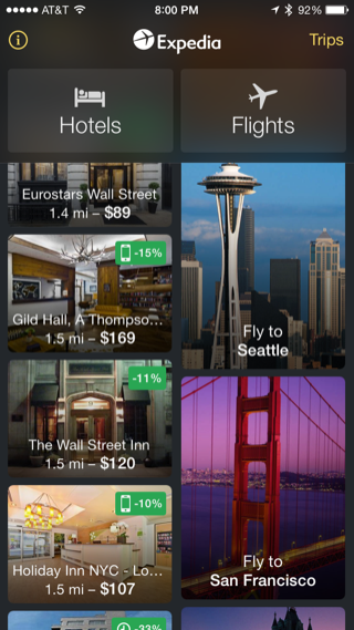 Expedia iPhone home, booking, lists screenshot