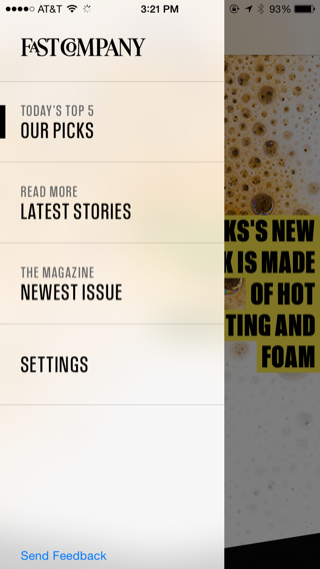 Fast Company iPhone editorial, content, custom navigation, drawer navigation, flyout menu screenshot